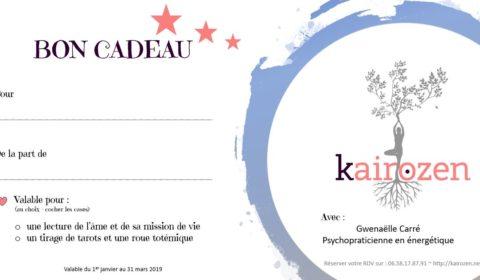 Bon cadeau noel 2018 kairozen Gwenaelle Carré